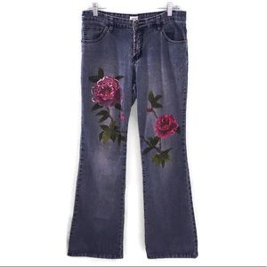 Cache Blue Denim Hand Painted Floral Flare Jeans